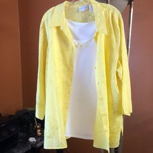 Yellow button down with butterfly detail